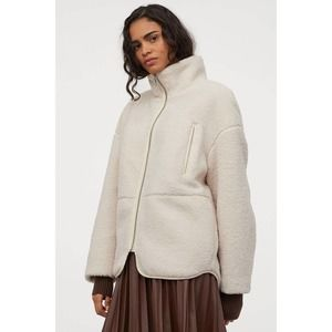 Faux shearling fleece jacket with high collar